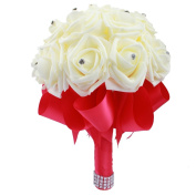 OurWarm Romantic Wedding Bride Bouquet Roses with Crystal Pearl Silk Artificial Flowers Bouquets