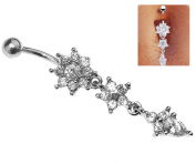 Belly Bar Navel Button Ring Crystal Dangly Surgical Steel Body Jewellery Sexy