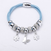 Bingcute Silver European Charm Bracelet Purple Cord Bracelets With Butterfly Charm And Magnetic Clasp (7.8inch/20cm)