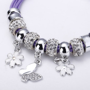 Bingcute Silver European Charm Bracelet Purple Cord Bracelets With Butterfly Charm With Shamballa Beads And Magnetic Clasp (7.8inch/20cm)