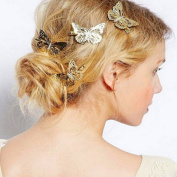 JIAHUI Pack of 6 Golden Butterfly Hair Clip Headband Hair Accessories, Bride Headwear Hair Clips