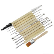 Clobeau Pottery Clay Sculpture Carving Cleaning Tools Set 12-Piece Wooden Handle Assorted Length