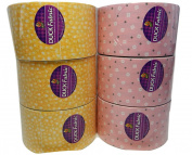 6 Rolls of Duck Brand Fabric Tape Rolls Pink and Yellow Pattern