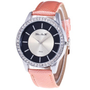 Lucoo comfortable Christmas gift New Luxury Female Quartz Dial Diamond Leather Analogue Wrist Watch Round Case Watch