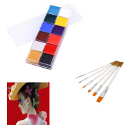Face & Body Painting Oil Painting Art MakeUp Kit Halloween Party Fancy Dress 12 Colour+Nylon Hair Flat Pointed Tip Art Artists Paint Brush 6PCS/Set