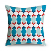 FabricMCC Red Navy White Moroccan Quatrefoil Square Accent Decorative Throw Pillow Case Cushion Cover 18x18