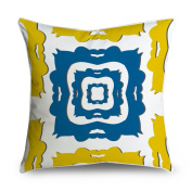 FabricMCC Blue and Yellow Damask Print Square Accent Decorative Throw Pillow Case Cushion Cover 18x18
