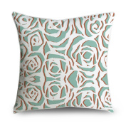 FabricMCC White Floral Damask on Green Square Accent Decorative Throw Pillow Case Cushion Cover 18x18