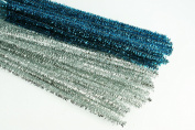 CHRISTMAS Set of 100 Metallic Tinsel Pipe Cleaners for Kids Crafts, Embellishing and Group Projects