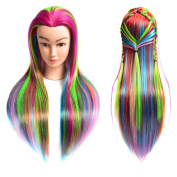 50cm Synthetic Cosmetology Mannequin Training Head with Hair and Free Clamp Holder Multi-colour