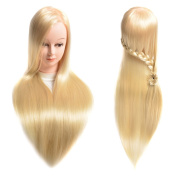 50cm Synthetic Cosmetology Mannequin Training Head with Hair and Free Clamp Holder Bleach Blonde