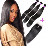 FASHION QUEEN Hair Straight Weave 7A Brazilian Virgin Hair 3 Bundles with Lace Closure Free Part Mixed Size Length Perfect for Natural Colour Hair Weft