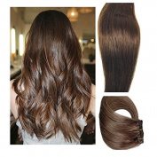 Myfashionhair Clip in Hair Extensions Real Human Hair Extensions 50cm 70g Dark Brown Clip on for Fine Hair Full Head 7 pieces Silky Straight Weft Remy Hair