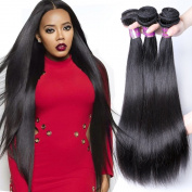 XBLHAIR Brazilian Virgin Remy Human Hair Extension Weave 3 Bundles 300g – Silky Straight,15cm - 70cm , Natural Colour