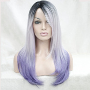 Strong Long Natural Straight Premium Japanese Kanekalon Ombre Silver Grey To Pastel Purple Hair Wigs
