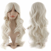 60cm White Curly Cosplay Wigs Full Head Hair Wig 10+ Colours Grade 7A Heat Resistant Hair Fall for Halloween Costume Party UPS Post