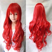 80cm Red Curly Cosplay Wigs Full Head Hair Wig Grade 7A Heat Resistant Hair Fall for Halloween Costume Party UPS Post