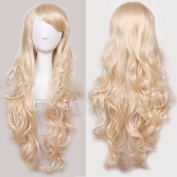 60cm Linen Blonde Curly Cosplay Wigs Full Head Hair Wig Grade 7A Heat Resistant Hair Fall for Halloween Costume Party UPS Post