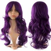 60cm Purple Curly Cosplay Wigs Full Head Hair Wig 10+ Colours Grade 7A Heat Resistant Hair Fall for Halloween Costume Party UPS Post