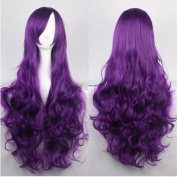 80cm Purple Curly Cosplay Wigs Full Head Hair Wig Grade 7A Heat Resistant Hair Fall for Halloween Costume Party UPS Post