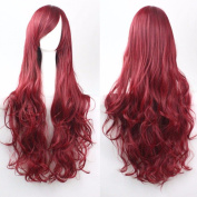 80cm Wine Red Curly Cosplay Wigs Full Head Hair Wig Grade 7A Heat Resistant Hair Fall for Halloween Costume Party UPS Post