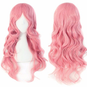 60cm Pink Curly Cosplay Wigs Full Head Hair Wig Grade 7A Heat Resistant Hair Fall for Halloween Costume Party UPS Post