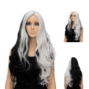 Netgo Black and White Cosplay Wig Long Wavy Lolita Style Two Tone Wig for Costume Party