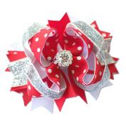 Red Silver Hair Bow Clip Girl Birthday Party Girl Girls Children Gift