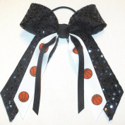 Basketball Soft Touch Sequin Hair Bow, Made in the USA, Avail in many colours, Black Pony Band,