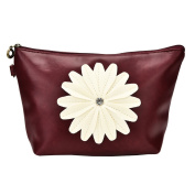 Bestrice Cosmetic Bag Sunflower Trapezoid Portable Handbag/Wrist Bag/Clutch Bag/Cell Phone Bag/ Ladies Purse - Wine Red