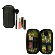 Travel Makeup Cosmetic Bag Case Organiser with brush holder- Matte Black