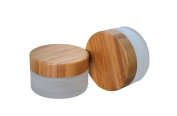 TOPWEL 50ML(50g) Frosted Glass with Bamboo Lid Empty Refillable Cosmetic Cream Jar Pot Bottle Container
