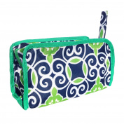 Top Navy Green Damask Lined Hanging Toiletries Makeup Travel Bag Case Kit with Zipper & Strap Hanger TravelNut® Women Teen Girl Unique Cool Birthday Stocking Stuffer Christmas Gift Idea