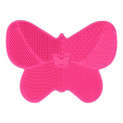 Makeup Brush Cleaning Mat, Pink Silicone Makeup Brush Washing Scrubber Tool with Suction Cups, Butterfly Makeup Brush Cleaning Pad
