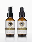 KokoBerna Skincare Age-Defying Regenerating Face Oil & Hydrating Facial Serum Set, 2 Bottles x 1 fl. oz. / 30ml