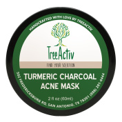 TreeActiv Turmeric Charcoal Acne Mask | Natural Treatment for Facial Blackheads, Severe and Cystic Acne | Clear Skin and Face | Exfoliating | 60ml