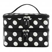 Hearts Shop Cosmetic Bag Double Layer Dot Pattern Travel Toiletry Bag Organiser With Mirror Inside