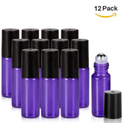 Olilia Glass Roll on Bottles with Metal Roller Balls - Essential Oils Key included 12 Pack of 5ml