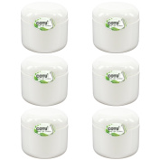 6 x 120ml New & Empty DIY White Jars with White Dome Cap Liner Lids by COTU (R)