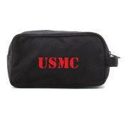 USMC United States Marine Corps Text Dual Two Compartment Toiletry Dopp Kit Bag