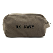US NAVY Text Canvas Dual Two Compartment Travel Toiletry Dopp Kit Bag