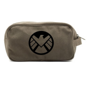 Agents of Shield Logo Dual Two Compartment Toiletry Dopp Kit Bag, Olive & Black