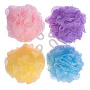 4pcs Assorted Colour Body Bath Sponge Mesh Pouffe Bathing Best for Home Travel