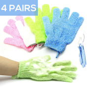 Bath & Relax 4 Pair Set Exfoliating Shower Bath Gloves Scrubbing Wash Skin Spa Massage Loofah Body Scrubber