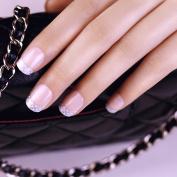 ArtPlus 24pcs Silver Edge False Nails French Manicure Full Cover Medium Length with Glue Fake Nails