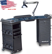 M602 Manicure Nail Table Double Lockable Cabinet Black Marble top by Dina Meri