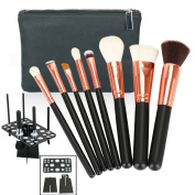Hotrose 8PCS Pro Makeup Brushes Set Beauty Cosmetic Complete Powder Foundation Eye Cosmetic Brushes Kit with Leather Zipper Brush Case + 1pcs Makeup Brushes Air Drying Stand