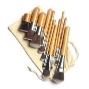 Terrece 9 Nine Professional Cosmetic Synthetic Natural Brushes Bamboo HandlePowder Eyeshadow Foundation Eyebrow Lip Eyeliner Contour Brush Kit Universal Set