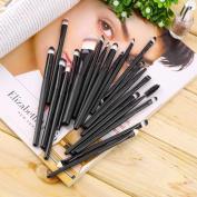 Terrece 20 Pcs Professional Cosmetic Synthetic Brushes Powder Eyeshadow Mascara Foundation Eyebrow Lip Eyeliner Contour Brush Kit Universal Set