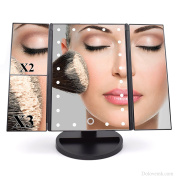 Dolovemk Makeup Mirror 22 LED Lighted 1X/2X/3X Magnification Illuminated, Touch Sensor ON, Two-way Powered